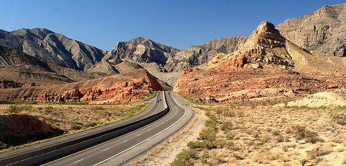 A view of a Nevada highway near Las Vegas