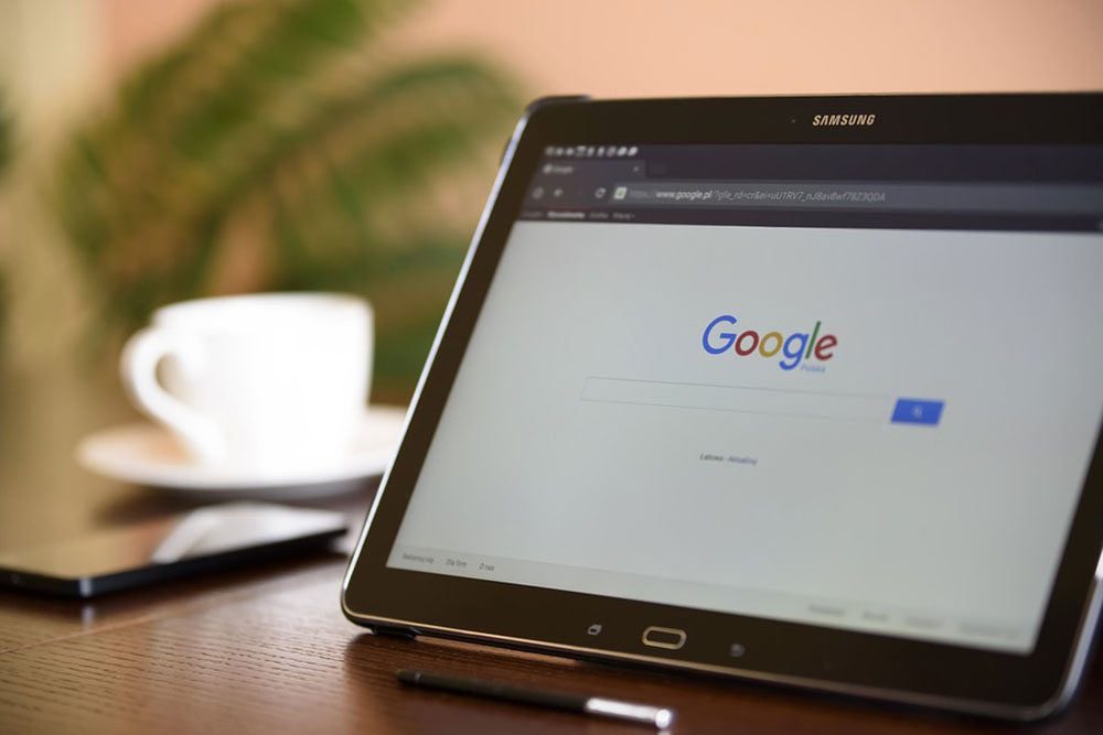 Google search engine on a tablet
